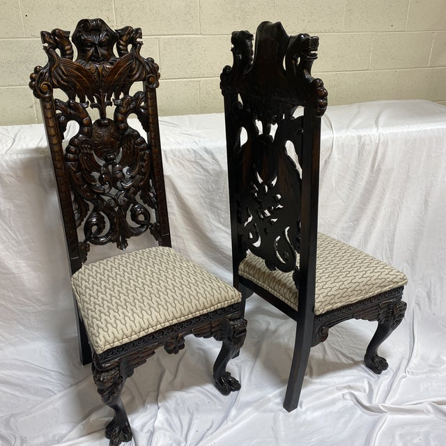 Carved Wood North Wind Face Gothic Chairs For Sale - Image 12 of 13