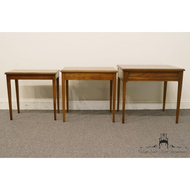 Heritage Solid Ash Italian Neoclassical Nesting End Tables - Set of 3 For Sale - Image 10 of 12