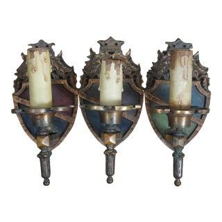 Antique Edwardian Victorian English Tudor Iron Heraldic Sheild Sconce Lights - Set of 3 For Sale
