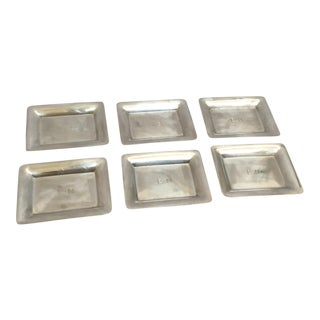 Black Starr & Frost Silver Trays - Set of 6 For Sale