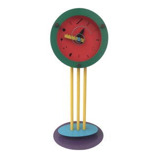 1980s Memphis Style Wakita Tabletop Clock For Sale
