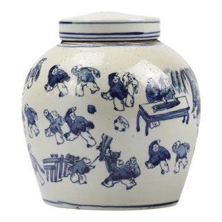 """Hand Painted Ceramic Ming Style """"Hundred Children Painting"""" Jar With Cap For Sale"""