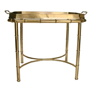 1960s Hollywood Regency Mastercraft Faux Bamboo Brass Tray Table For Sale