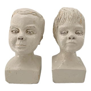 Vintage Boy and Girl Plaster Head Bust Sculptures - a Pair For Sale