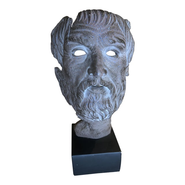 Hellenic Style Plaster Bust on Stand For Sale