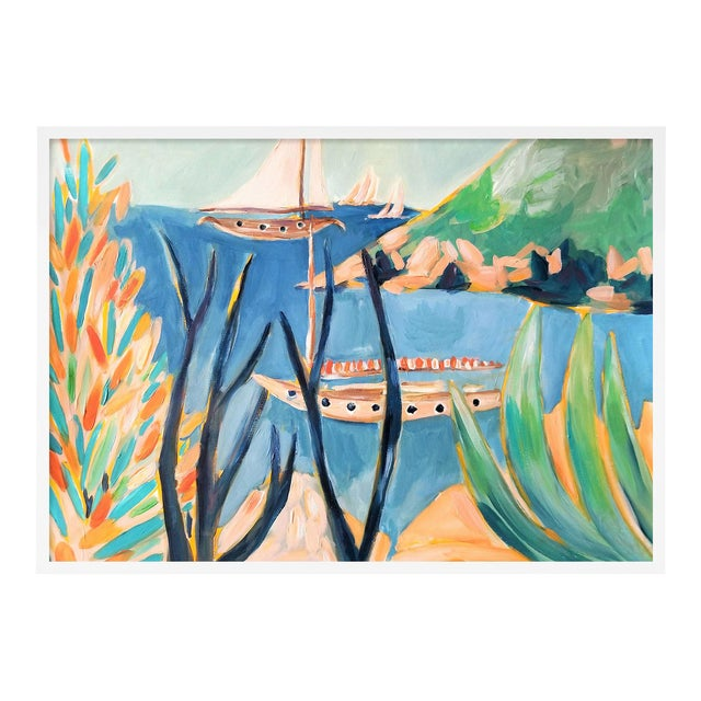 Porto Ercole 2 by Lulu DK in White Framed Paper, Large Art Print For Sale