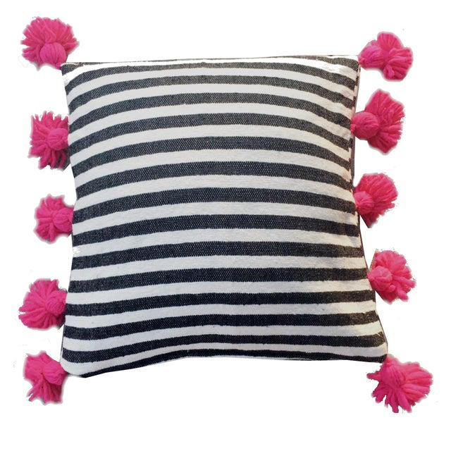 Moroccan Black & Fuchsia Pompom Pillow Cover For Sale - Image 3 of 3