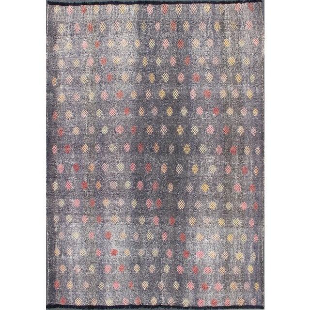 Mid 20th Century Keivan Woven Arts,TU-Emd-3426, Vintage Turkish Kilim Flat Weave Rug- 6′6″ × 9′3″ For Sale - Image 5 of 5