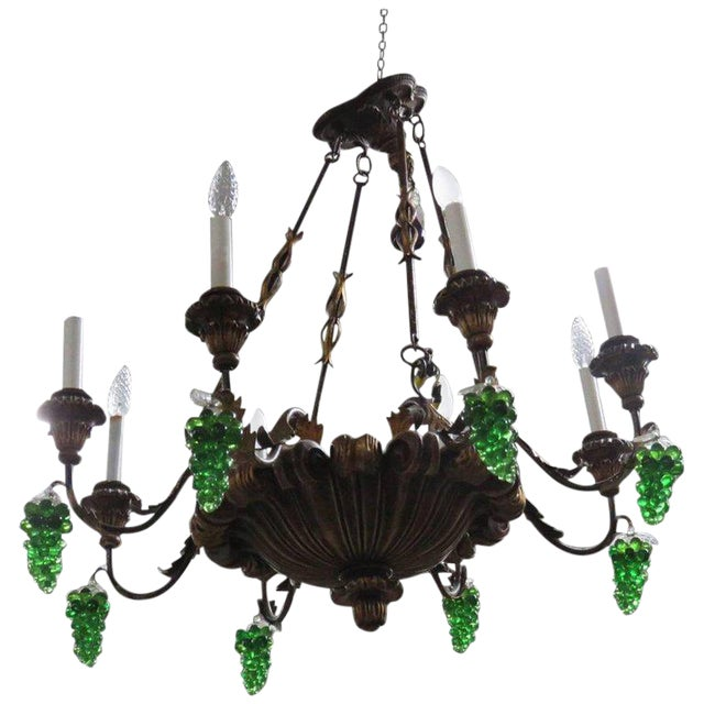 Italian Tole and Crystal Chandelier For Sale