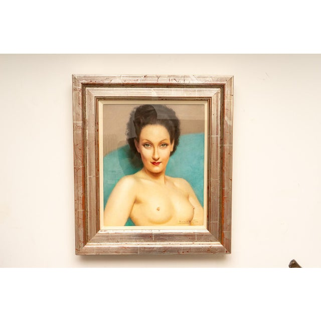 Art Deco 1920s Pastel Portrait Female Nude by Listed Artist Robert Louis Raymond Duflos For Sale - Image 3 of 8