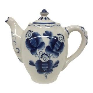 Blue & White Russian Tea Pot For Sale