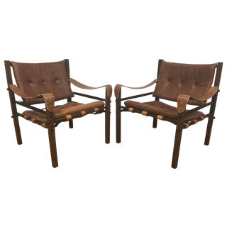 Arne Norell Style Leather Safari Chairs - A Pair
