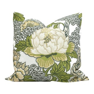 Robin Egg Floral Decorative Pillow Cover in Thibaut Honshu For Sale