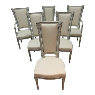 Swedish Gustavian Tall Back Dining Chairs - Set of 6 For Sale