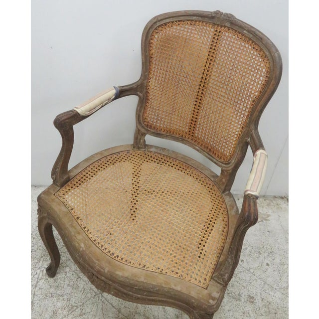 French Style Antique Caned Distressed Chair - Image 6 of 9
