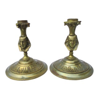 Egyptian Revival Bronze Candlesticks - a Pair For Sale