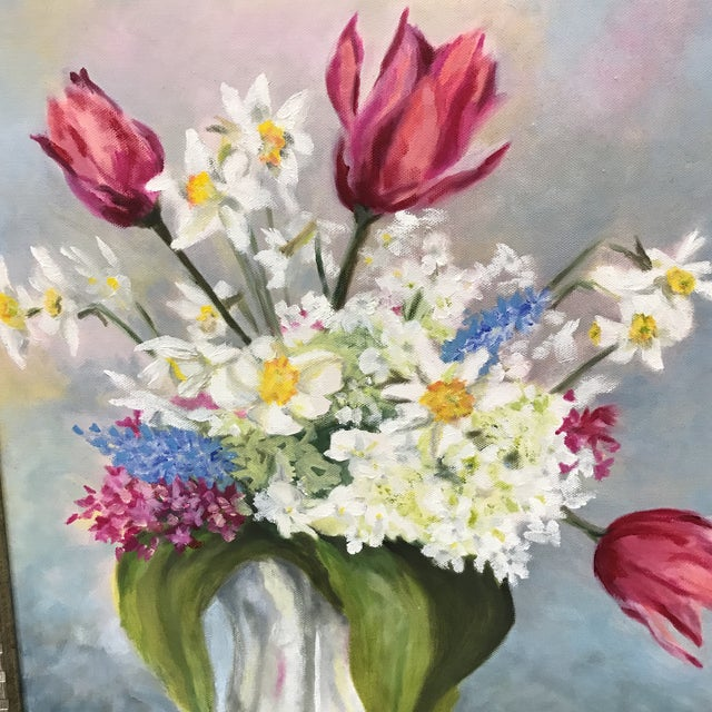 Cottage Spring Bouquet Flower Painting For Sale - Image 3 of 5