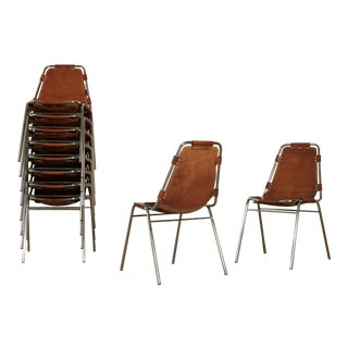 Set of 10 / 8 / 6 / 4 'Les Arcs' Chairs Selected by Charlotte Perriand, 1970s For Sale