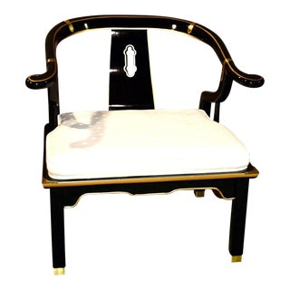 Vintage Century Asian Style Shaped Accent Chair W/Brass Fittings For Sale