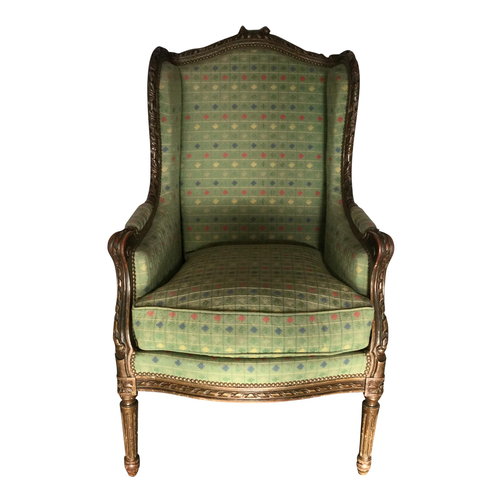 antique french louis xvi style bergere chairish. Black Bedroom Furniture Sets. Home Design Ideas