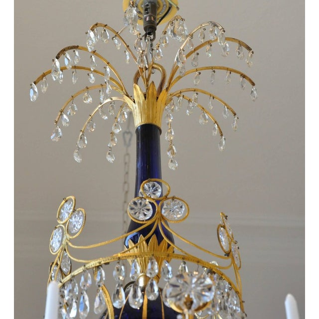 Glass Period Early 19th Century Russian Neoclassical Cobalt and Ormolu Chandelier For Sale - Image 7 of 8