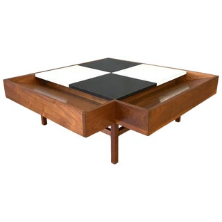 John Keal for Brown-Saltman Checkered Top Walnut Coffee Table For Sale