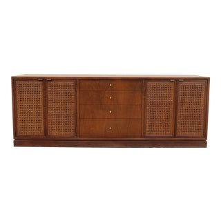 Walnut Mid Century Platform Credenza W/ Cane Doors For Sale