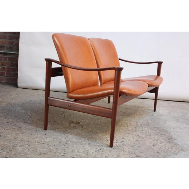 Fredrik Kayser Loveseat in Leather and Teak - Image 2 of 11