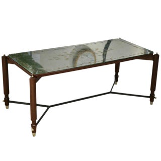 Leleu Decorateurs Beechwood and Eglomise Rectangular Cocktail Table For Sale