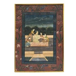 Vintage Indian Framed Painting on Silk Punjab Hills Chelsea House