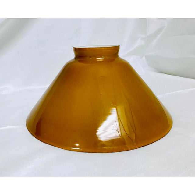 Industrial Vintage Butterscotch & White Cased Glass Industrial Pendant Shade For Sale - Image 3 of 8