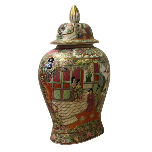 This is a Chinese decorative porcelain flat Jar with people scenery painted on the surface. It is a Republic of China...