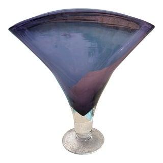 Vintage Blenko Amethyst Purple Art Glass Fan Vase For Sale