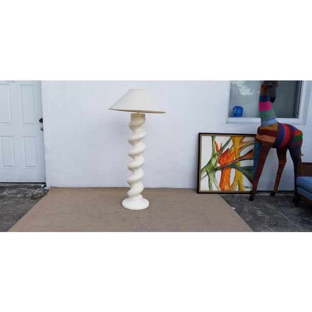 1970s Hollywood Regency Michael Taylor Plaster Floor Lamp For Sale - Image 4 of 13