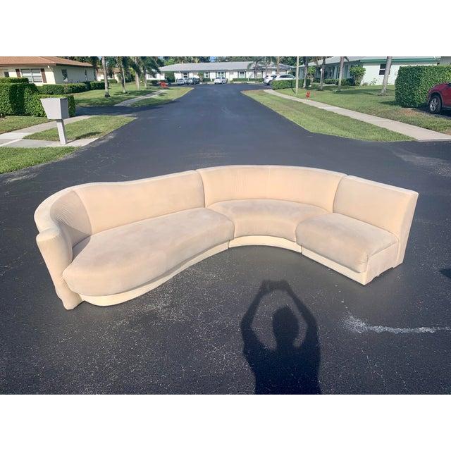 Vladimir Kagan Vladimir Kagan for Weiman 3pc Scroll Back Sectional Sofa For Sale - Image 4 of 13