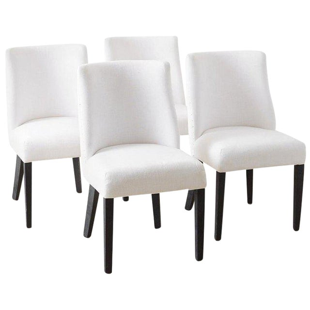 Set Of Four French Barrel Back Style Dining Chairs Chairish