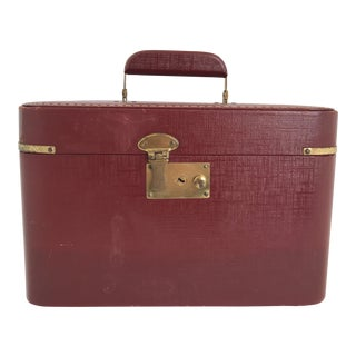 Vintage 1930s Burgundy Brass Train Case Luggage For Sale