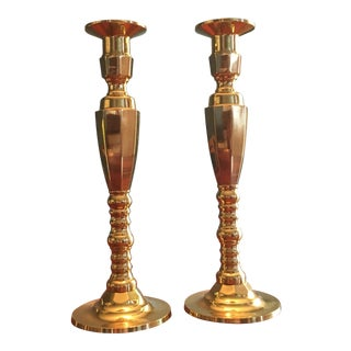 Traditional Brass Altar Candlesticks - A Pair For Sale