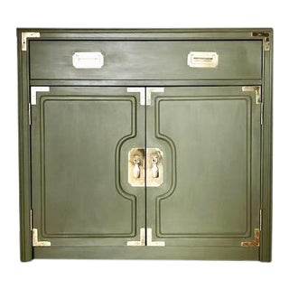 1960s Campaign Style Brass Detailed Cabinet For Sale