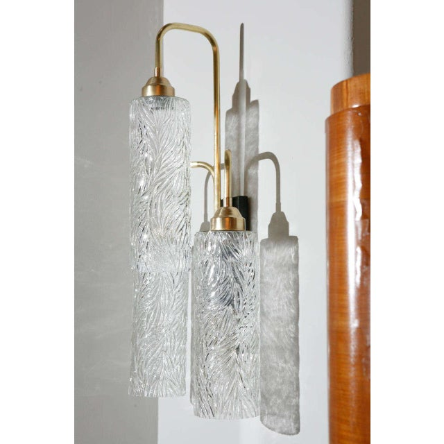 Mid-Century Modern Vintage German Glass Brass Sconce For Sale - Image 3 of 6