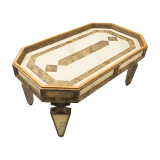 Custom Made Coffee Table Faux Painted in Cream and Gold Colors For Sale
