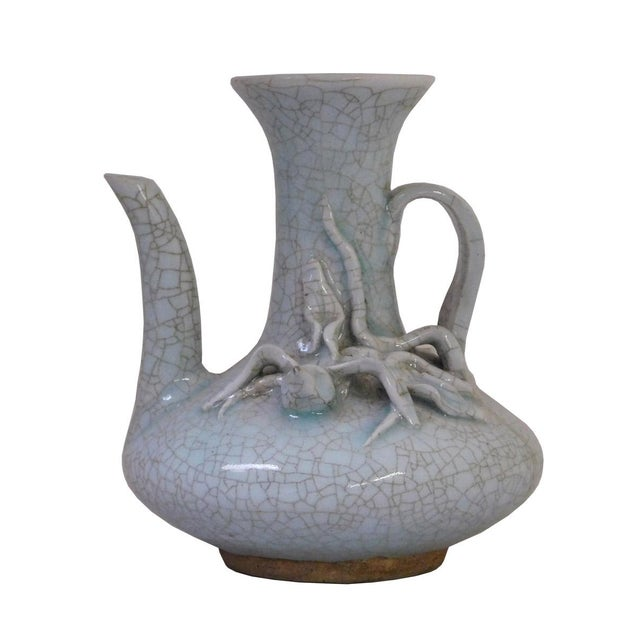 Chinese Celadon Crackle Pottery Vase For Sale
