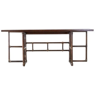 McGuire Rattan Flip-Top Console or Dining Table For Sale