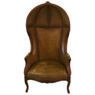 20th Century Louis XV Style Olive Leather Porter Chair