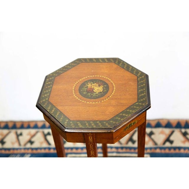 Up for sale is a 1890s Painted Satin Wood Stand Weight: 7 lbs Dimensions (in inches): H 30.75 x W 13