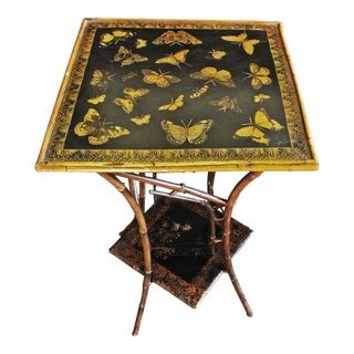 19th Century Asian Bamboo 2-Tier Side Table For Sale