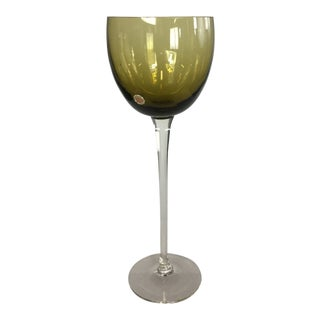 Vintage Murano Glass Olive Green Decorative Goblet For Sale