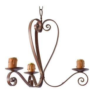 Simple French Iron Chandelier For Sale