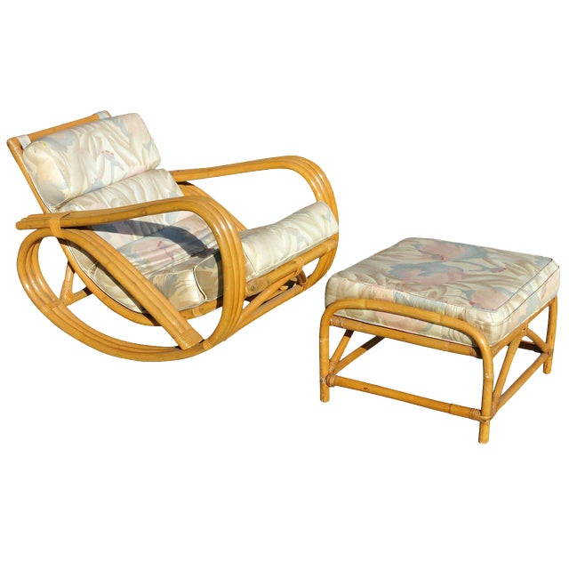 Rare Restored Pretzel Arm Rattan Rocking Chair with Ottoman - Image 1 of 9