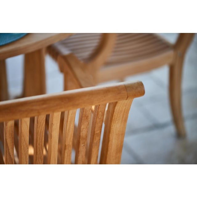 Contemporary Palm Teak Outdoor Armchair For Sale - Image 3 of 10